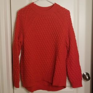 Oversized open cable knit sweater red H&M